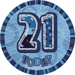 XXL Glitzer Button 21. Geburtstag Blau
