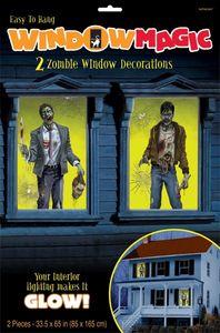 2 Halloween Fenster Bilder Zombie