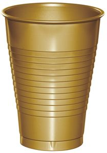 20 Plastik Becher in Gold 350 ml