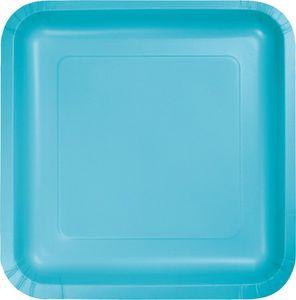 18 quadratische Papp Teller Bermuda Blau – Bild 1
