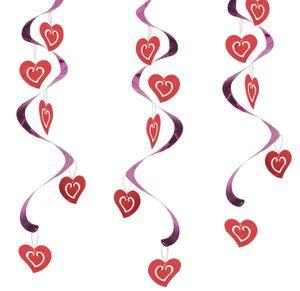 5 hängende rote Herzchengirlanden