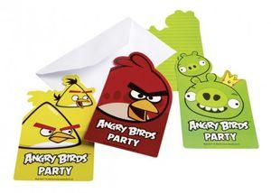 6 Angry Birds Classic Einladungskarten