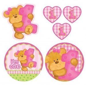 8 Popcorn Schachteln 1. Geburtstag rosa Teddy