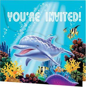 8 Einladungskarten Ozean Party