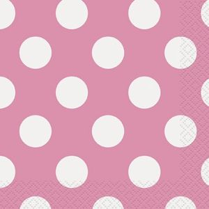 16 Servietten Pink mit Punkten