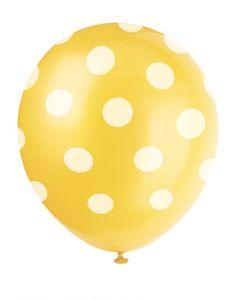 6 Luftballons gelbe Pünktchen