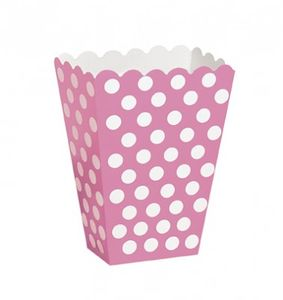 8 Popcorn oder Party Boxen pinke Punkte
