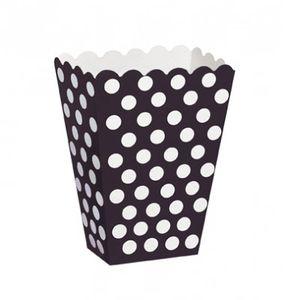8 Popcorn Boxen schwarze Punkte