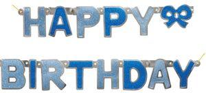 Glitzer Geburtstags Girlande Blau - Happy Birthday