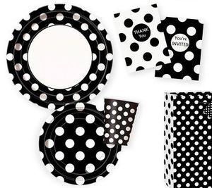 8 Papp Teller Schwarz mit weißen Punkten