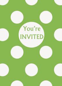 8 Einladungskarten hellgrüne Punkte – Bild 1