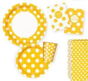 6 Papp Becher Sonnenblumen Gelb mit Punkten