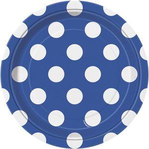 8 kleine Teller blaue Punkte