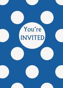 8 Einladungskarten blaue Punkte