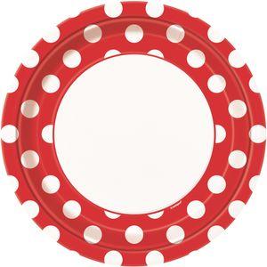 8 Teller Rot mit Punkten