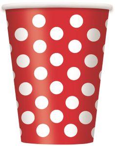 6 Papp Becher Rot mit Punkten – Bild 1