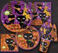 8 kleine Halloween Teller Schwarze Katze