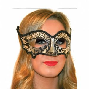 Augenmaske schwarz silber
