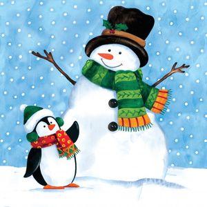 18 kleine Servietten Schneemann mit Pinguin – Bild 1