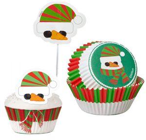 48 Teile Weihnachts Muffin Deko Set Schneemann