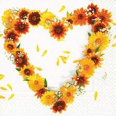 Kleine Servietten Sonnenblumen Herz