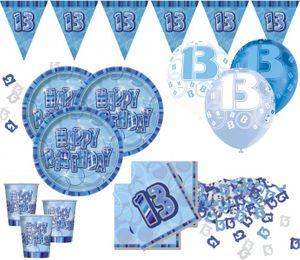 13. Geburtstag Glitzer Folien Ballon Blau – Bild 2