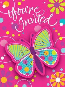 8 Einladungskarten bunter Schmetterling