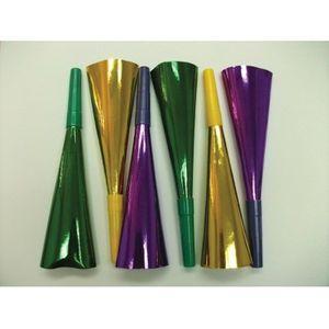 6 Glitzer Tröten Gelb Grün Violett