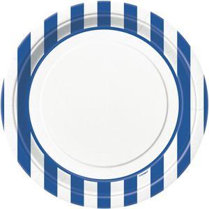 8 Teller blaue Streifen