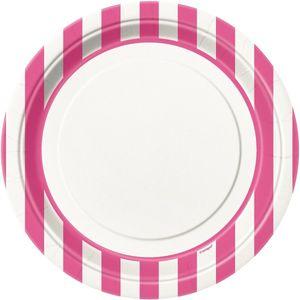 8 Teller pinke Streifen
