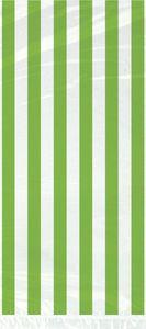 20 Zellophantütchen hellgrüne Streifen