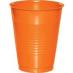 20 große Plastik Becher Orange 473 ml