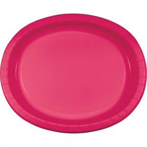 8 ovale Pappteller Magenta Pink