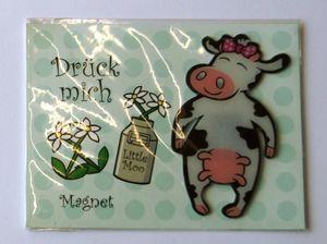 Drück mich - Kuh Magnet mit Kärtchen