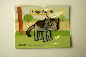 Graue Katze - Kool Cats - Magnet mit Kärtchen