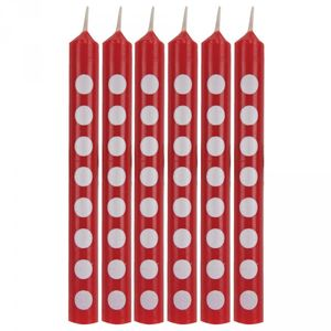 12 Kuchenkerzen Rot mit Punkten