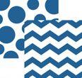 16 Servietten Zickzack Punkte Tinten Blau