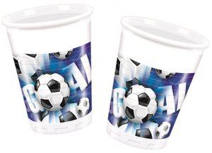 10 Plastik Becher Fußball blau