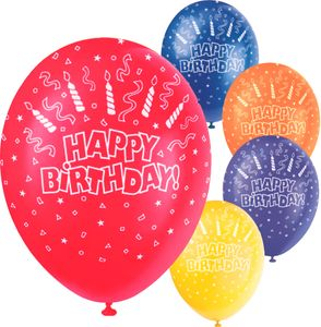 5 bunte Geburtstags Luftballons rundum bedruckt