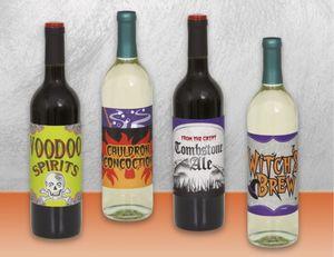 4 Weinflaschen Etiketten Halloween