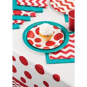 8 kleine Papp Teller Punkte Rot – Bild 3