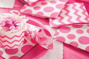 8 kleine Papp Teller Punkte Bonbon Rosa – Bild 3