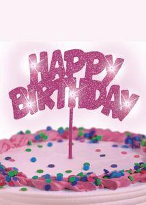 Happy Birthday Tortenpick Pink