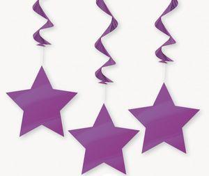 3 hängende Sterne Girlanden Lila Pflaume