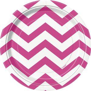 8 kleine Papp Teller ZickZack Pink