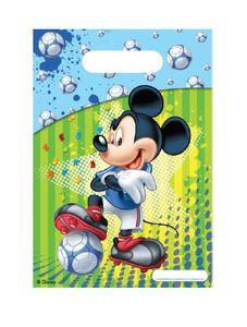 6 Micky Maus Fußball Party Tüten