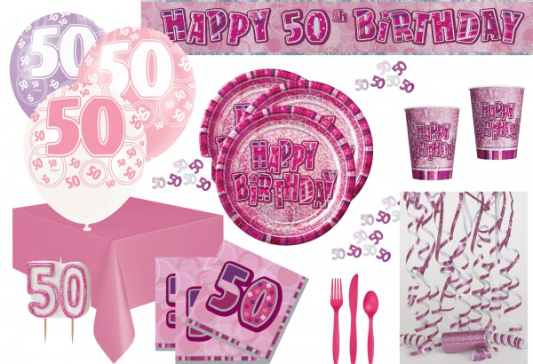 50 Geburtstag Party Set 75 Teile Fur 8 Personen Pink