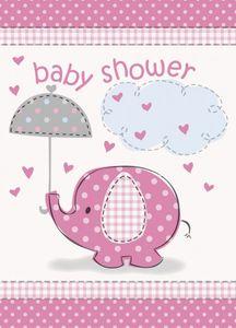 8 Einladungskarten Baby Shower Elefant Rosa
