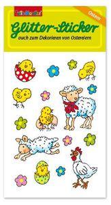 Fröhliche Osterlämmchen Glitter Sticker