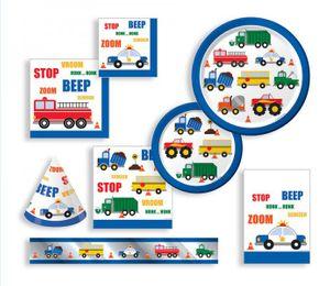 8 kleine Papp Teller Fahrzeug Stau – Bild 2